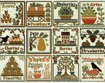 Counted Cross Stitch Pattern, Fruit of the Seasons, Acorns, Pumpkins, Saltbox House, Watermelon, Little House Needlework, PATTERN ONLY