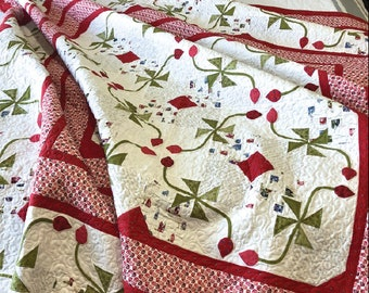 Quilt Pattern, Village Square, Pieced Quilt, Appliqued Quilt, Wall Hanging, Bed Quilt, Pinwheels, Vines, Jillily Studio, PATTERN ONLY