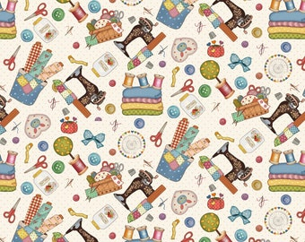 Quilt Fabric, Sew Let's Stitch, Vintage Sewing Machine, Scissors, Thread Spools, Buttons, Needles, Pins, Sandy Lee, Henry Glass