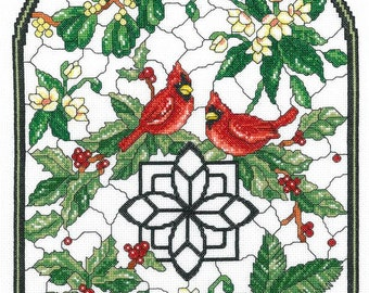 Counted Cross Stitch Pattern, Winter Stained Glass, Cardinals, Holly Berries, Winter Decor, Imaginating, Ursula Michael, PATTERN or KIT ONLY