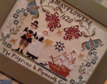 Counted Cross Stitch Pattern, Pilgrims of Plymouth, Mayflower, Patriotic Sampler, Country Rustic, Twin Peak Primitives, PATTERN ONLY