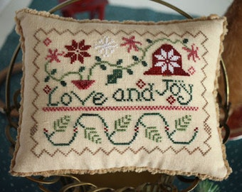 Counted Cross Stitch Pattern, Love and Joy, Inspirational, Scripture, Christmas Decor, October House Fiber Arts, PATTERN ONLY