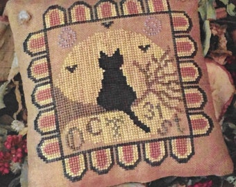 Counted Cross Stitch, Midnight Dreamer, Primitive Black Cat, Full Moon, Bats, Halloween Decor, Pillow Ornament, The Woolly Ewe, PATTERN ONLY