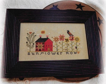 Counted Cross Stitch, Sunflower Row, Primitive Crow, Sunflowers, Fall Decor, Quilt Star, Saltbox House, Annie Beez Folk Art, PATTERN ONLY