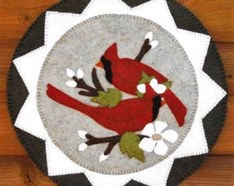 Wool Applique Pattern, Cardinals & Blooms, Candle Mat, Winter Decor, Cardinals, Dogwoods, Home Decor, Cotton Tales, PATTERN ONLY