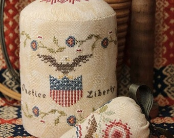 Counted Cross Stitch Pattern, Liberty Pin Drum, Needle Berry, Patriotic Decor, Beth Twist, Heartstring Samplery, PATTERN ONLY