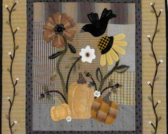 Wool Applique Pattern, October Garden, Fall Decor, Primitive Decor, Wool Appliqued Wall Hanging, Heart to Hand, Kathi Campbell, PATTERN ONLY