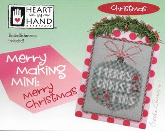 Counted Cross Stitch Pattern, Merry Christmas, Merry Making Mini, Christmas Decor, Christmas Ornament, Ornament, Heart in Hand, PATTERN ONLY