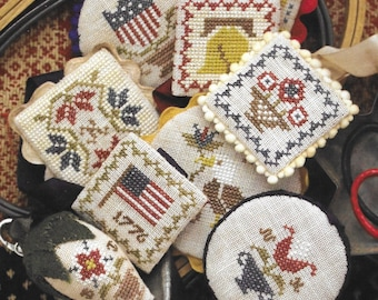 Counted Cross Stitch Pattern, Festive Little Fobs, Americana Edition, Scissor Fob, Beth Twist, Heartstring Samplery, PATTERN ONLY