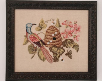 Counted Cross Stitch Pattern, The Visitor, Bee Skep, Antique Reproduction, Berlin Sampler,  The Blackberry Rabbit, PATTERN ONLY