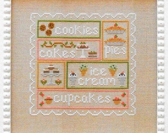Counted Cross Stitch, Sweet Sampler, Cross Stitch Patterns, Cottage Decor, French Decor, Baking, Country Cottage Needleworks, PATTERN ONLY
