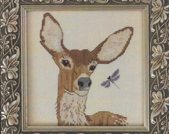 Counted Cross Stitch Pattern, Oh My Deer, Deer, Dragon Fly, Woodland, Forest Animals, White Tailed Deer, Designs by Lisa, PATTERN ONLY