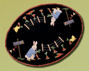 Wool Applique Pattern, U-Pick, Wool Applique, Wool Mat, Table Runner, Easter Decor, Spring Decor, Bunny, Chick, Nutmeg Hare, PATTERN ONLY