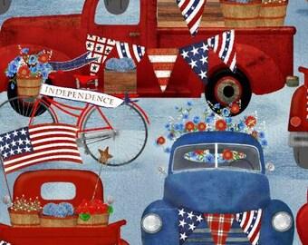 Quilt Fabric, American Spirit, Blue American Trucks, Patriotic Fabric, Americana, Cotton, Quilter Cotton, Premium Cotton, Beth Albert Fabric