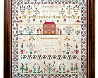 Counted Cross Stitch Pattern, Ann Forfit 1812, Reproduction Sampler, Floral Motifs, Primitive Decor, Hands Across the Sea, PATTERN ONLY