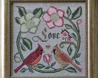 Counted Cross Stitch Pattern, Forever and Ever, Songbird's Garden, Cardinals, Christmas Rose, Folk Art, Cottage Garden, PATTERN ONLY