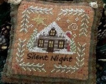 Counted Cross Stitch, Silent Night, Winter Decor, Log Cabin, Snowy Night, Christmas Decor, Pillow Ornament, The Woolly Ewe, PATTERN ONLY