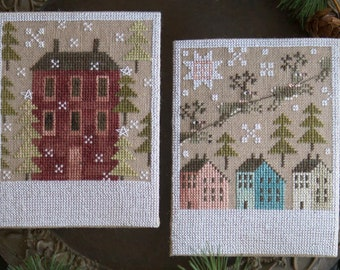 Counted Cross Stitch Pattern, Winter Saltboxes, Reindeer, Saltbox Houses, Snowflakes, Evergreen, Plum Street Samplers, Pattern Only