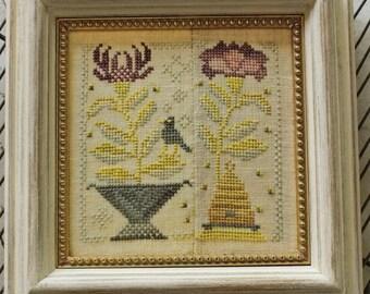 Counted Cross Stitch Pattern, Honey Bee, Bee Skep, Honey Bees, Black Crow, Flower Basket, Garden Decor, Blackbird Designs, PATTERN ONLY