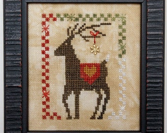 Counted Cross Stitch Pattern, Dazzlin' Deer, Reindeer, Christmas Decor, Christmas Ornament, Ornament, Heart in Hand, PATTERN ONLY