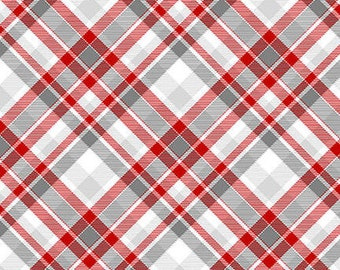 Flannel Fabric, Winter Whimsy, Red Gray Bias, Plaid Flannel, Winter Flannel, Cotton Flannel, Quilting Flannel, Shelly Comiskey, Henry Glass