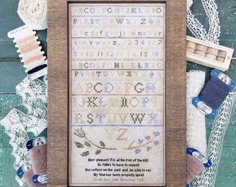 Counted Cross Stitch, A Pleasant Sampler, Antique Reproduction, Sarah Ann Noel, Reproduction Sampler, Liz Mathews, PATTERN ONLY