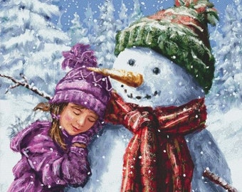 Counted Cross Stitch Pattern, Snowman Hugs, Winter Decor, Snowman, Frosty, Christmas, Marcello Corti, Cross Stitch Studio, PATTERN ONLY