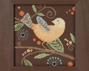 Counted Cross Stitch, Out on a Limb, Blue Bird, Aqua Bird, Orange Bird, Yellow Bird, Beaded Cross Stitch, Debbie Mumm, PATTERN AND KIT