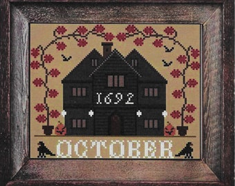 Counted Cross Stitch Pattern, October Cottage, I'll Be Home Series, Halloween Decor, Country Rustic, Twin Peak Primitives, PATTERN ONLY