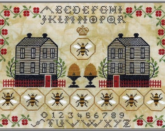 Counted Cross Stitch Pattern, Honey Hill Hamlet, A Simple Sampler, Queen Bee, Bee Skep, Clapboard Houses, Artful Offerings, PATTERN ONLY