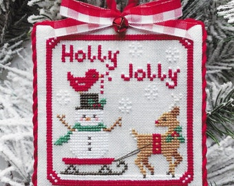 Counted Cross Stitch Pattern, Holly Jolly, Reindeer, Snowflakes, Cardinal, Snowman, Christmas Ornament,  Luminous Fiber Arts, PATTERN ONLY