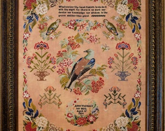 Counted Cross Stitch Pattern, Anne Thomas 1854, Reproduction Sampler, Floral Motifs, Birds, 19th Century, Hands Across the Sea, PATTERN ONLY