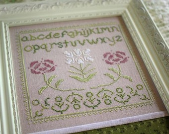 Counted Cross Stitch Pattern, Rosamonde Sampler, Roses, Cottage Sampler, Cottage Decor, Farmhouse, October House Fiber Arts, PATTERN ONLY