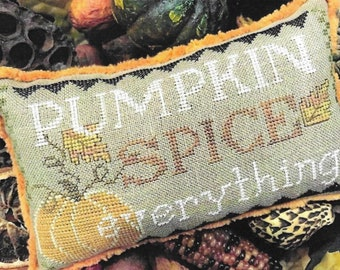 Counted Cross Stitch Pattern, Pumpkin Spice Everything, Fall Decor, Primitive Decor, Autumn Pillow, The Scarlett House, PATTERN ONLY