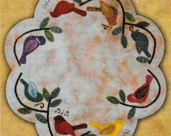 Wool Applique Pattern, Songbirds, Wool Applique Table Mat, Cardinals, Bluebirds, Spring Decor, Wool Doily, Primitive Gatherings PATTERN ONLY