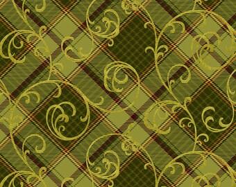 Quilt Fabric, Autumn Time, Green Plaid Scroll, Fall Fabric, Red Green Plaid, Cotton Quilting Fabric, Color Principle, Henry Glass Fabrics