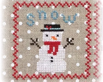Counted Cross Stitch, Snowy 9 Patch, Snowman, Part 1, Snow, Winter Decor, Snowflakes, Christmas Decor, Annie Beez Folk Art, PATTERN ONLY