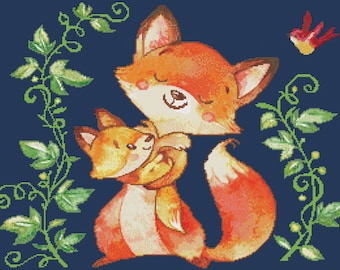Counted Cross Stitch Pattern, Foxie and Roxie, Watercolor Reproduction, Nursery Decor, Baby Fox, Cross Stitch Studio, PATTERN ONLY