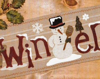Wool Applique Pattern, Frosty's Winter, Christmas Table Runner, Snowman Winter, Christmas Decor, Winter, Buttermilk Basin, PATTERN ONLY