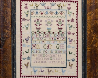 Counted Cross Stitch Pattern, Ann Gardner 1723, Reproduction Sampler, Floral Motifs, Alphabet, Hands Across the Sea, PATTERN ONLY