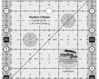 Quilt Ruler, Creative Grids Perfect 5 Ruler, 5 Inch Square Acrylic Ruler, Creative Grids, Charm Square, Non-Slip Ruler, It's Sew Emma