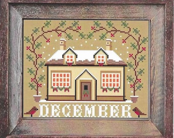 Counted Cross Stitch Pattern, December Cottage, I'll Be Home Series, Winter Decor, Country Rustic, Twin Peak Primitives, PATTERN ONLY
