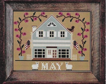 Counted Cross Stitch Pattern, May Cottage, I'll Be Home Series, Spring Decor, Country Rustic, Twin Peak Primitives, PATTERN ONLY