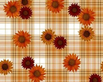 Quilt Fabric, Harvest Campers, Sunflowers, Plaid Sunflowers, Fall Decor, Autumn Decor, Country Rustic, Farmhouse, 3 Wishes, Beth Albert