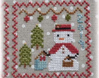 Counted Cross Stitch, Snowy 9 Patch, Snowman, Part 9, Snow, Winter Decor, Snowflakes, Christmas Decor, Annie Beez Folk Art, PATTERN ONLY