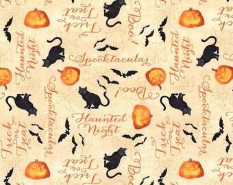 Quilt Fabric, Haunted Night, Tan Haunted Words, Halloween Fabric, Quilt Fabric, Halloween Decor, Danielle Leon, Wilmington Prints