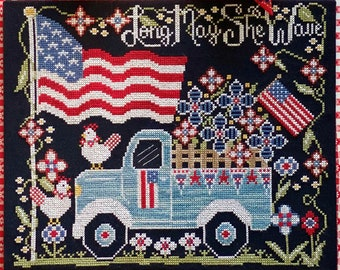 Counted Cross Stitch Pattern, Long May She Wave, Vintage Truck, Americana, Patriotic, Flag, Stitching Housewives, PATTERN ONLY