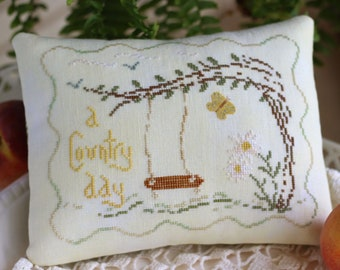 Counted Cross Stitch Pattern, A Country Day, Daisies, Butterfly, Rope Swing, Summer Decor, October House Fiber Arts, PATTERN ONLY
