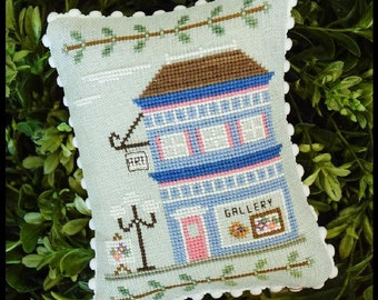 Counted Cross Stitch, Main Street Art Gallery, Cottage Decor, Main Street Series #5, Country Cottage Needleworks, PATTERN ONLY