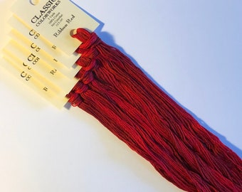 Classic Colorworks, Ribbon Red, CCT-197, 5 YARD Skein, Hand Dyed Cotton, Embroidery Floss, Counted Cross Stitch, Hand Embroidery Thread